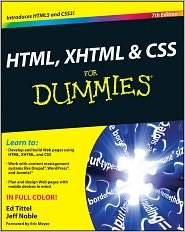 HTML, XHTML and CSS For Dummies 7th (seventh) edition Text Only by For Dummies