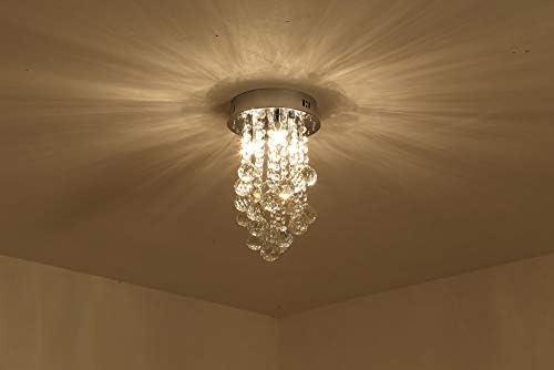 Crystal Ceiling Light Chandelier, Modern Pendant Light, Flush Mount Raindrop Lighting Fixtures for Living Room, Bedroom, Study Room
