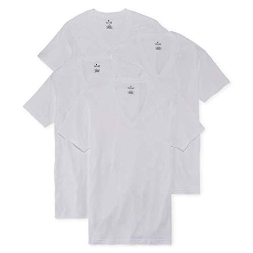 Stafford 4-pk. Heavyweight V-Neck T-Shirts (XXL) White (Heavyweight V-neck T-shirt)