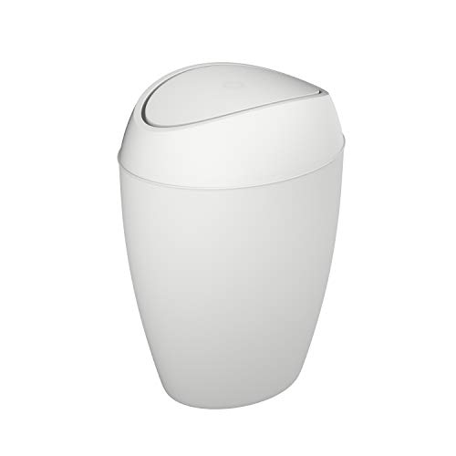 (Umbra Twirla Trash Can with Flipping Lid, 9 L, Metallic White)