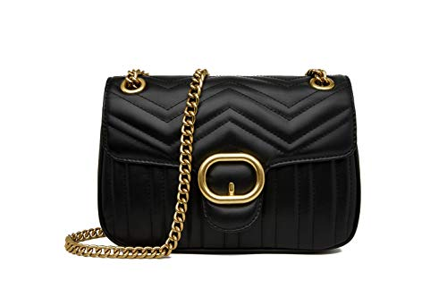 Women Genuine Leather Shoulder Bag Ladies Fashion Clutch Purses Quilted Crossbody Bags With Chain – Black