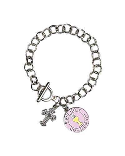 CB First Holy Communion Zinc Alloy 7 1/2 Inch Link Chain Charm Bracelet with Toggle Clasp
