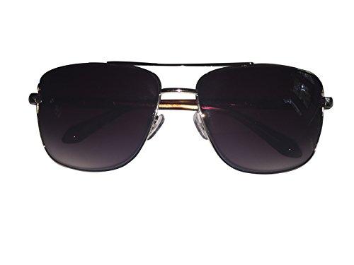 Unisex Men Women Classic Aviator Metal Designer Sunglasses with Case (Gray) - 5