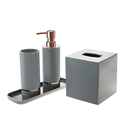 Decozen Bathroom Accessories Set In Grey Bright Rose Gold Strip Accent Cylindrical Tumbler Lotion Dispenser Square Tray Tissue Box Bathroom Decor Accessory Set Of 4pcs Buy Online In Belize At Belize Desertcart Com Productid