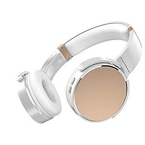 Tchin Auriculares inalámbricos con Bluetooth Dual Ear Estéreo Ligero 4.2 Auriculares para computadora Mini Auriculares Bluetooth Plegables (Color : Blanco)