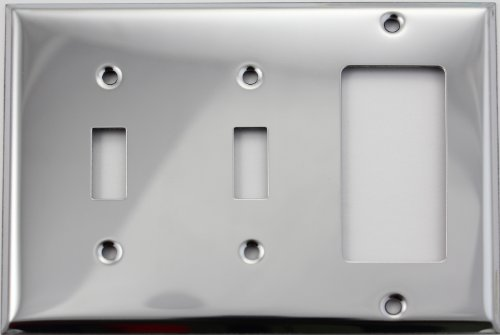 Polished Chrome Three Gang Wall Plate - Two Toggle Switches One GFI/Rocker (Chrome Toggle Wall Plate)
