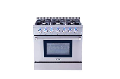 Thor Kitchen HRG3618U 36″ Freestanding Professional Style Gas Range with 5.2 Cu. Ft. Oven, 6 Burners, Convection Fan, Cast Iron Grates, Blue Porcelain Oven Interior, In Stainless Steel