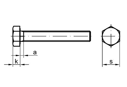 25 Stk Sechskantschraube DIN 933 10.9 M8 x 12 verzinkt