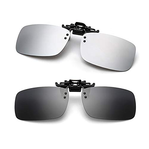 Clip-on Sunglasses 2 Pack Polarized Lens Unisex Frameless With Metal Flip Up For Driving, Outdoor Sports & Holidays (BLACK + ()