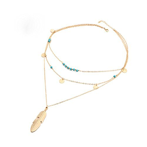 Defiro Boho Layered Necklace Pendant Turquoise Beads Feather Necklace Coin Chain Women Jewelry