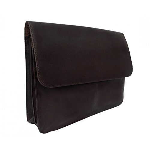 Piel Leather Entrepeneur Three-Section Flap Portfolio in Chocolate