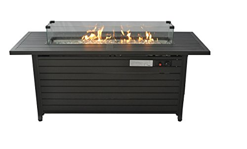 Cheap  LEGACY HEATING Extruded Aluminum Fire Table with Glass Wind Guard with Cover..