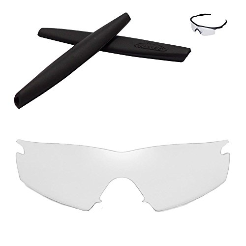 Walleva Replacement Lenses + Rubber For Oakley M Frame Strike Sunglasses - 26 Options Available (Clear Non-Polarized Lenses + Black - Strike Frame Oakley M Lenses