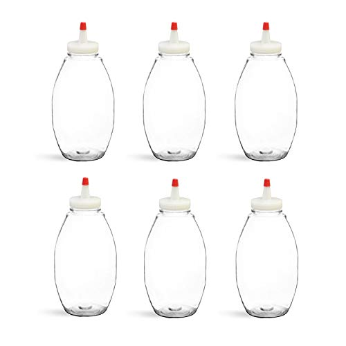 - 12 fl oz Plastic (PET) Squeeze Condiment Bottles with Red Tip Cap (6 pack) BPA-free