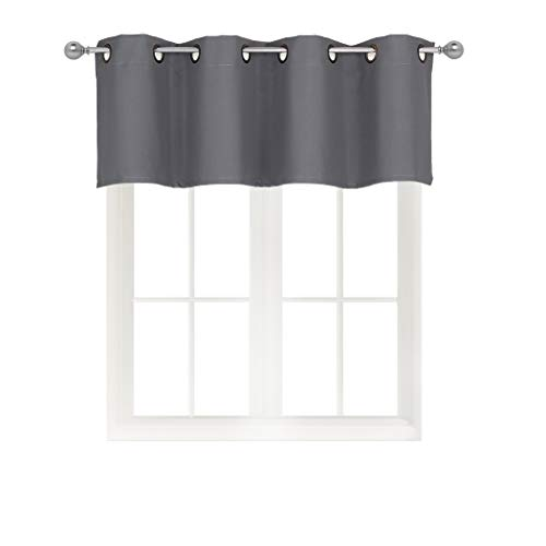 Solid Grommet Top Blackout Curtain Valance Window Treatment for Living Room, Short Straight Drape Valance, Set of 1, 54 X 18 inch, Charcoal