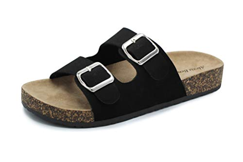 Alexis Bendel Kylie-01 Women Double Buckle Straps Sandals Flip Flop Platform Footbed Sandals Black 8
