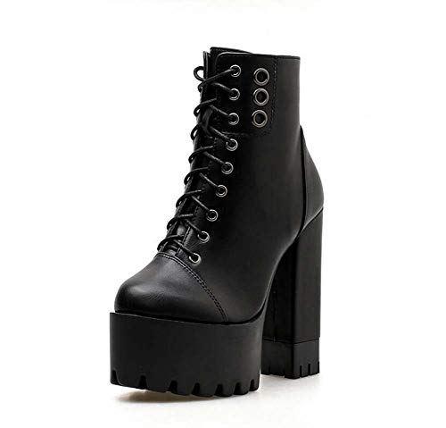 Botas Botas Encaje Vestir Dedo Botas Tamaño del Black Zapatos De Mujeres 40 Roma Redondo 12Cm UE Tacones Pie Martin Grueso 34 Remaches Caballero ZPwXAq