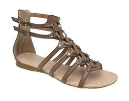 ZIP BACK ADJUSTABLE ANKLE GLADIATOR SANDAL - Brown - size Ladies ... 2e21adb904