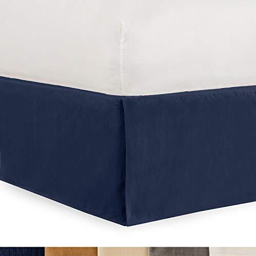 (Shop Bedding Tailored Velvet Bed Skirt with Split Corner 21 inch Drop-King, Navy Modern Dust Ruffle, High-End )