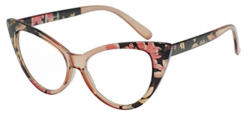 SunglassUP - Women's Round Rx Optical Cat Eye Magnification Reading Readers Eye Glasses (Floral, - Sunglass Optical
