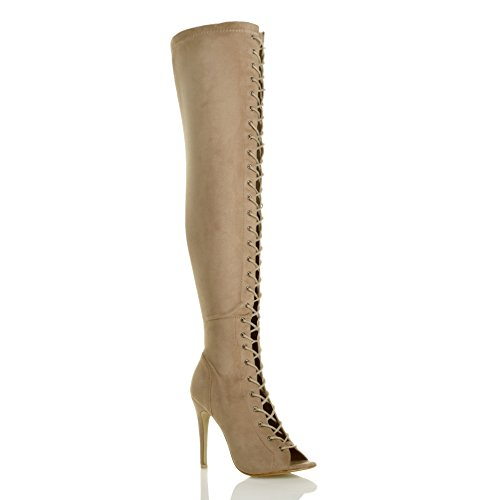 Ajvani Womens Ladies high Heel Stiletto Lace up Zip Club Over The Knee Thigh Boots Size Nude Suede