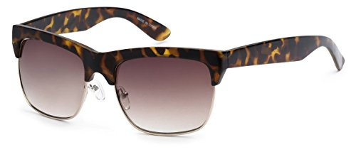 Eason Eyewear Men/Women's Half-Frame Aviator Fashion Sunglasses 58 mm Cheetah - Print Frames Glasses Cheetah