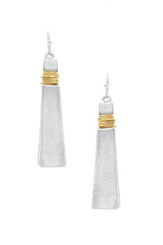 """Silver Wrap Wire Dangle (Distressed Look Silver-Tone Tapered Triangle Dangle Bar Earrings w/ Gold-Tone Wire Wrap Accent 2 1/8"""")"""