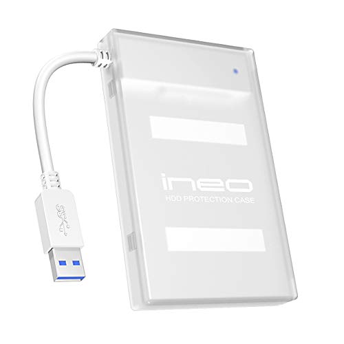 ineo USB 3.0 to 2.5 SATA III Hard Drive Enclosure/HDD Adapter Cable (SATA to USB Converter) with case for 2.5 inch 9.5mm & 7mm SATA HDD SSD [T2501 III Plus]