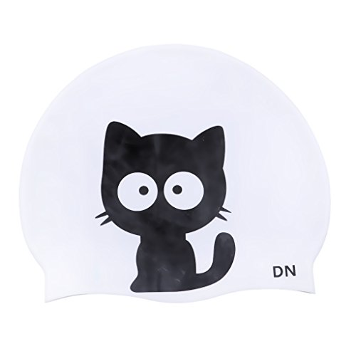 Prettyia Waterproof Unisex Silicone Swim Cap Bathing Shower Long Hair Pet Style Hat Universal Stylish Fashionable Elasticity Silicone Swimming Cap - Cat Collins ()