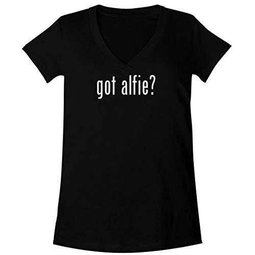 The Town Butler got Alfie? - A Soft & Comfortable Women's V-Neck T-Shirt, Black, Medium