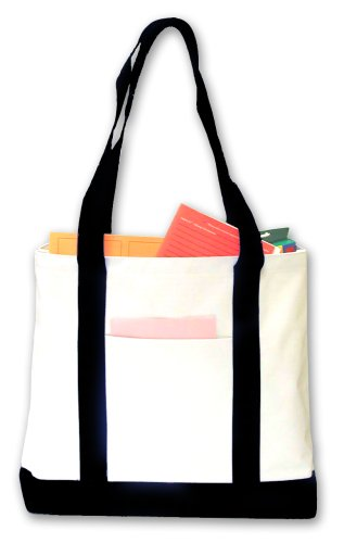 Boat Tote, White with Black