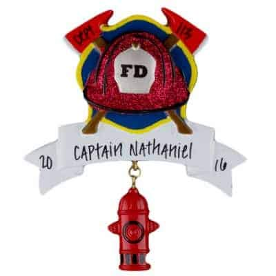 Fire Fighter Banner Personalized Ornament - (Unique Christmas Tree Ornament - Classic Decor for A Holiday Party - Custom Decorations for Family Kids Baby Military Sports Or Pets)