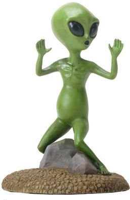 Small Green Colored Alien Figurine Statue with Hands Up Escaping