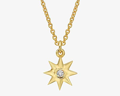 Gold Diamond Necklace, Solitaire North Star Pendant Necklace, 0.03 ct. Natural White Diamond Dainty Chain Layered Jewelry for Women, Handmade Affordable Gift in 14k/18k White/Rose/Yellow Gold (Si Solitaire Pendant)