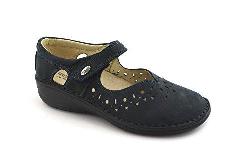 GRUNLAND Ines SC3105 Mujer Zapatos de Color Azul de Confort Extraíble Bailarines de Lágrimas Correa de Plantilla Blu