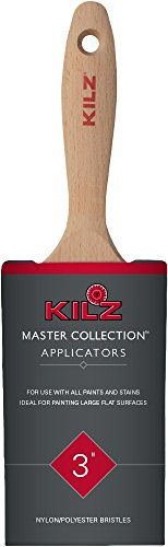 KILZ MASTER COLLECTION Handcrafted Nylon-Polyester Blend Flat Paint Brush, 3-Inch]()