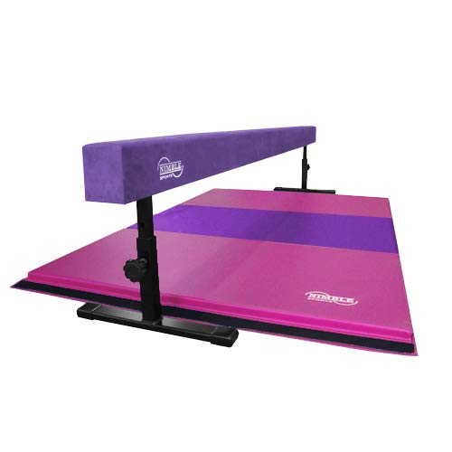 Nimble Sports Gymnastics Beam and Mat Combo – Purple, 14 to 24 Inch High 8 Feet Long Balance Beam with Pink and Purple 4 Feet X 6 Feet Folding Mat