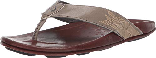 OLUKAI Men's Kulia Flip Flop, Charcoal/Dark Wood, 14 M US