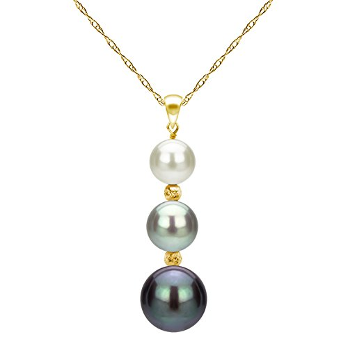 Freshwater Multi Necklace Pearl (14k Yellow Gold Graduated 5-9.5mm Multi-colors Freshwater Cultured Pearl Pendant Necklace, 18