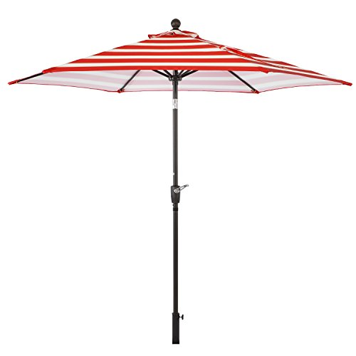 LCH 9 ft Patio Umbrella Set Backyard Garden Aluminum Outdoor Umbrella 1.5'' Pole 8 Ribs Tilt Easy Crank Open, Umbrella Cover, Red by LCH