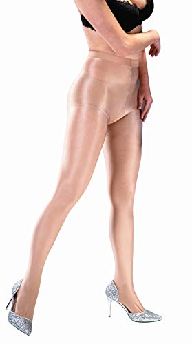 (Kffyeye 70D Women's Thickness Ultra Shine Stockings Pantyhose, Ultra Shimmery PLUS Footed Tight (Beige))