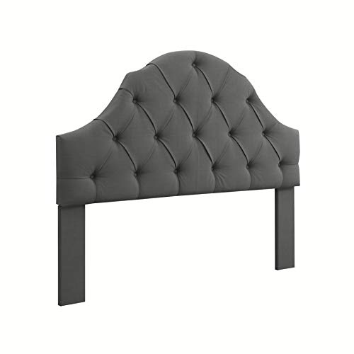 Ravenna Home Wolcott Adjustable Height Arched Tufted Headboard, King or California King Size Bed, Slate Grey