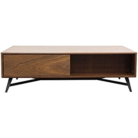 Tempo Cocktail Table With Storage In Walnut Case And Black Powder Coated Legs By Diamond Sofa Includes Cabinet Body Legs TEMPOCT2
