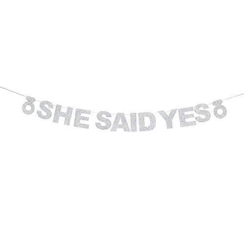 She Said Yes Silver Glitter Banner For Bachelorette,Propose,Bridal Shower,Wedding Party Decorations Photo Props.