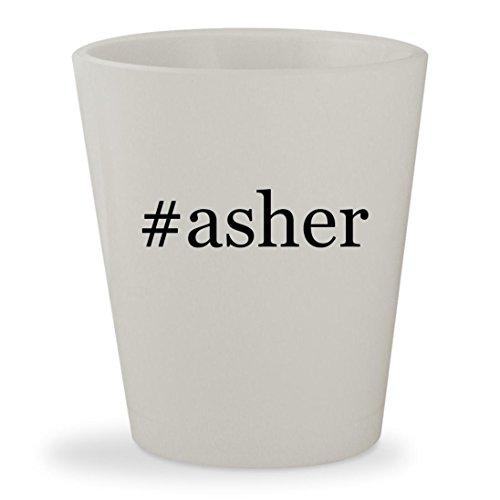 #asher - White Hashtag Ceramic 1.5oz Shot Glass (Free Sugar Covered Chocolate Pretzels)