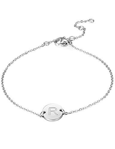 FUNRUN JEWELRY Stainless Steel Initial Bracelet Women Girls Letter Bracelet Ajustable (Letter (Initials Stainless Steel Bracelet)