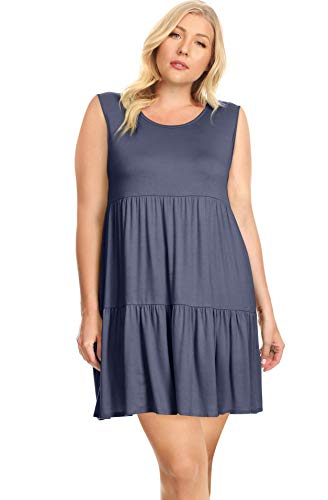 Womens Sizing Chart - Womens Plus Size Tiered T Shirt Dresses Plus Size Sundress - Made in USA (Size XX-Large US 14-16, Denim Sleeveless)