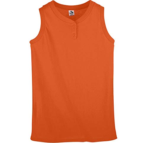 Sleeveless 2 Button Softball Jersey - Augusta Sportswear Girls Sleeveless Two-Button Softball Jersey M Orange