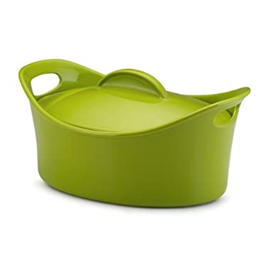 Rachael Ray Stoneware 4-Quart Covered Bubble and Brown Casseroval Casserole, Green