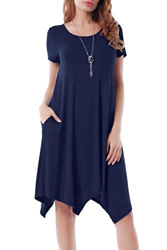 Invug Women Casual Loose Soft Crewneck Short Sleeve Pockets Swing T-shirt Dress...